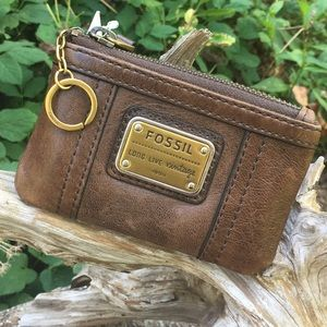 Fossil Emory Brown Coin Purse/Card Holder NWT!
